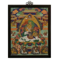 China Furniture Online Wall Hanging Tibetan Tang Ka Meditating Buddha Framed Painting Green and Blue * You can find more details by visiting the image link.