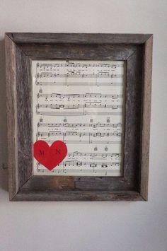 Rustic Frame Sheet Music Wedding Anniversary First