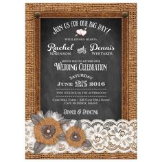 Country Wedding Invitation | Burlap | Chalkboard | Leather & Lace, Metal Flowers, Leaves & Pearl Jewels