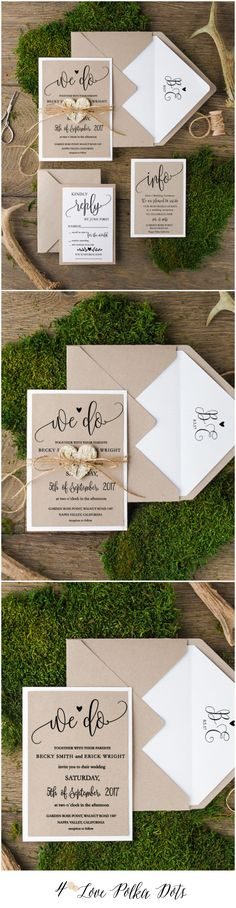 Eco Rustic Wedding Invitations #rusticwedding #countrywedding #dpf