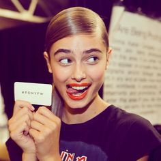 Taylor Hill's delightful funny face at NYFW <3