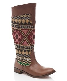 Love this Tantra Beige & Burgundy Tribal Cowboy Boot by Tantra on #zulily! #zulilyfinds