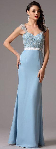 Sleeveless light blue sweetheart evening dress formal dress!