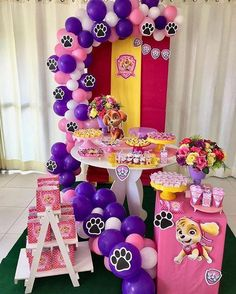 Learn how to decorate a beautiful Paw patrol Skye Party using the cutest ideas to make this girl's birthday look stylish. The dog patrol has come to Paw Patrol Birthday Girl, 1st Birthday Girls, 1st Birthday Parties, Paw Patrol Party Decorations, Decoration Party, Sky Paw Patrol, Fete Emma, Paw Patrol Invitations, Puppy Party