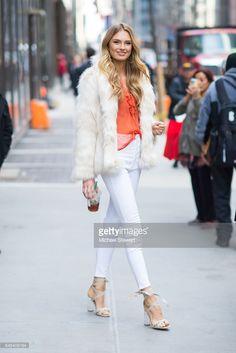 Model Romee Strijd is seen in Midtown on February 28, 2017 in New York City.