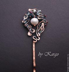 Купить Шпилька Linara - медная шпилька, шпилька, медь, жемчуг, гранат, wire wrap