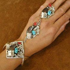 unique slave bracelets | SLAVE BRACELET Navajo Indian Jewelry Turquoise Coral BEAR CLAW SILVER ...
