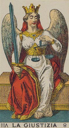 Justice - Ancient Italian Tarot drawn so beautifully Justice Tarot, Tarrot Cards, Vintage Tarot Cards, Esoteric Art, Tarot Major Arcana, Oracle Cards, Ancient Aliens, Freundlich, Tarot Decks