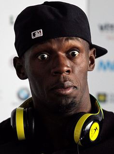 Jamaican sprinter Usain Bolt looks appalled by something at a news conference in OstravaPhotograph: David W Cerny/Reuters