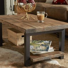 """Coffee table - you will love the Somers 42 """"wood / metal coffee table at Wayfair . - Coffee table – you& love the Somers 42 """"wood / metal coffee table at Wayfair – bargains - Diy Coffee Table, Decorating Coffee Tables, Coffee Table With Storage, Coffee Table Design, Diy Table, Rustic Wood Coffee Table, Metal Wood Coffee Table, X Frame Coffee Table, Coffee Decorations"""