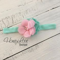 Mint/Aqua and Light Pink shabby flower rhinestone pearl headband hair bow, elastic head band pearls newborn infant toddler little baby girl by HoneyLove Boutique