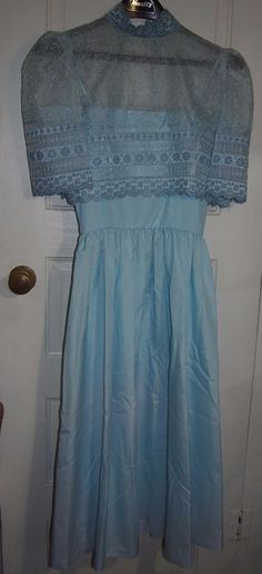 1950s VINTAGE Baby Blue Dress Party Prom Womens XS Spaghetti Strap Eyelet Small #VickyVaughn