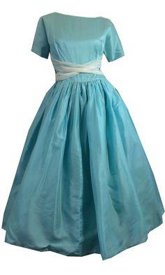 Aqua Blue Silk Full Skirt Party Dress w/ White Sash circa 1960s