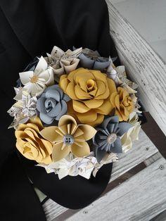 Paper Wedding Flowers Bridal Bouquet Rose Kusudama Gray Sheet Music Custom. $108.00, via Etsy.
