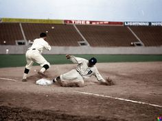 Aug. 16, 1924, at Griffith Stadium in Washington D.C. Washington Senators vs. Detroit Tigers. Ty Cobb slides in safe to third after hitting a triple. The third baseman is most likely Ossie Bluge.