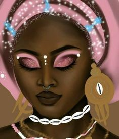 Close up of The Goddess Next Door: Obba Obba is an orisha celebrated in the Yoruba religion Ifa, as well Diasporic religions: Santeria, Candomble, Umbanda Her archetype includes Marriage, &.Oba is the daughter of Obatala and Shango's first wife. Black Love Art, Black Girl Art, Art Girl, Orishas Yoruba, Yoruba Religion, African Art Paintings, Black Art Pictures, Black Magic Woman, Black Artwork