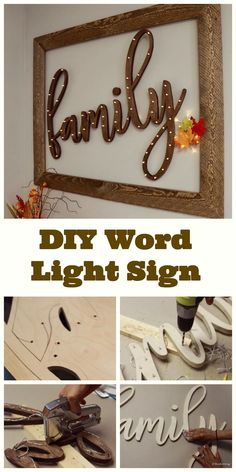 How to Make a DIY Word Light Sign From Wood - All you need is a jigsaw, wood, and lights! - Thrift Diving Have you ever wanted to make a DIY word light sign out of wood? This full-length tutorial shows you how, using Beginner Woodworking Projects, Popular Woodworking, Fine Woodworking, Woodworking Crafts, Woodworking Blueprints, Woodworking Equipment, Woodworking Store, Woodworking Classes, Custom Woodworking
