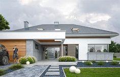 Rezydencja Parkowa 3 on Behance Modern Family House, Modern Bungalow House, Modern House Design, Home Building Design, Building A House, Exterior Wall Design, Beautiful House Plans, House Design Pictures, Home Structure