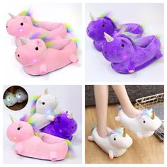 3D Light Up Unicorn Slippers Soft Plush Fluffy Winter Indoor Shoe In 3 Colours #Unbranded