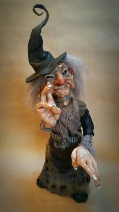 SOLD (Commission) OOAK Witch Poseable Art Doll Halloween Arts And Crafts, Halloween Doll, Halloween Witches, Halloween Ideas, Woodland Creatures, Magical Creatures, Creepy Halloween Decorations, Halloween Ornaments, Dracula