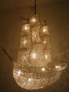 Peter Pan..Crystal chandelier in ship shape