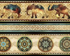 Elephant fabric, boho elephant, Quilting fabric, cotton fabric, quilting treasures, border fabric, fabric by the metre, elephant collage