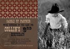 Rustic Cowboy Custom Birthday Invitation Photo by RoxterDesigns, $18.00