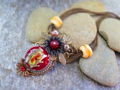 FIRE STORM, RED LAMP WORK ASSEMBLAGE NECKLACE NOW SOLD