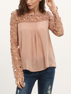 SheIn offers Coffee Long Sleeve Hollow Lace Chiffon Blouse & more to fit your fashionable needs. Red Blouses, Blouses For Women, Lace Blouses, Red Lace Top, Red Long Sleeve Tops, Short Lace Dress, Pretty Outfits, Lace Chiffon, Clothes