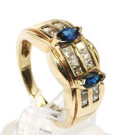 14k Yellow Gold 0.40 ct Sapphire & 0.70 ct Diamond Cocktail Ring sz 7 B4. #Cocktail
