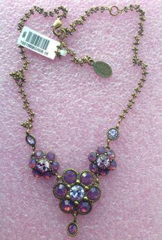 SALE-Michal-Negrin-Victorian-Rose-Swarovski-crystals-necklace