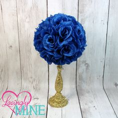 Centerpiece Royal Blue Rose Pomander Glitter Gold Vase - Royal Baby Shower, Birthday, Wedding, Bridal Shower Centerpiece by LovinglyMine on Etsy. Royal Prince Baby Shower Centerpiece in Royal Blue & Glitter Gold. Princess Inspired. Fairy Tale Wedding Centerpieces. Fancy Vases