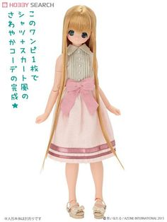 [Close] PNS Front Ribbon Nosleeve One Piece (Light Pink x Beige) (Fashion Doll) Item picture1