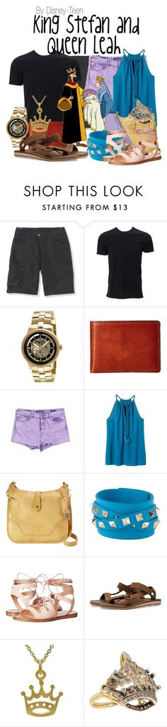 """King Stefan and Queen Leah"" by disney-teen ❤ liked on Polyvore featuring Pearl Izumi, Kenneth Cole, Bosca, Vigoss, Banana Republic, Frye, Valentino, Steve Madden, Teva and Tressa"