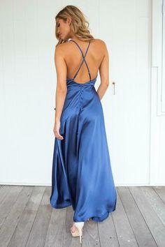 Forever Satin Maxi Dress (Navy)▶ ▷ ▶ Shop It Now ❤ Xenia Boutique xx