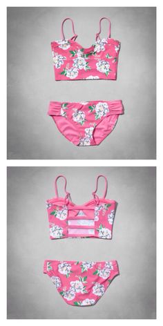 Abercrombie kids floral strappy tankini swimsuit