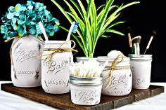 Mason Jar Bathroom Decor. Organizer. Gray. Set of 5. Ball Mason Jars. Painted Jars. Toothbrush Holder. Farmhouse Bathroom Decor. Rustic Decor.
