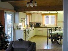 Wizard Lake Cabin Rental Lakefront Homes, Lake Cabins, Cabin Rentals, Alberta Canada, Kitchen Cabinets, Furniture, Home Decor, Ideas, Restaining Kitchen Cabinets
