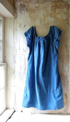 indigo upcycled cotton dress by enhabiten on Etsy Curvy Outfits, Cool Outfits, Fashion Outfits, Dresses For Teens, Cute Dresses, Only Fashion, Fashion Looks, Shabby Look, Handmade Clothes