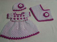 Uncinetto bambino vestito 3 pc insieme, abito, cappello, poncho, vestito ragazza bambino, baby Abito, abito rosa baby, piazze Nonnina, caduta insieme, abbigliamento bambino