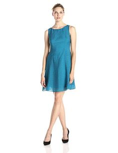 Adrianna Papell Womens Sleeveless Burnout Stripe Fit and Flare Dress Teal 10 >>> You can find out more details at the link of the image.(This is an Amazon affiliate link and I receive a commission for the sales)