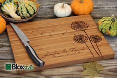 Personalized/ Engraved Cutting Board w/ Dandelion Design 11x16 or 9x12, Personalized Wedding Gift,Bamboo,Custom Cutting Board,Christmas Gift
