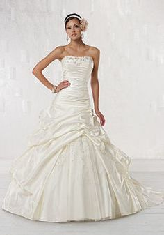 Ball Gown Taffeta Strapless Sleeveless Floor Length Natural Waist Bridal Gown With Pick ups - Angeldress.co.uk