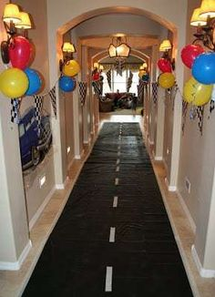 is a Highway-Car's Party Post Cars party or Hot Wheels party - use a black runner and add white lines to make a highway.Cars party or Hot Wheels party - use a black runner and add white lines to make a highway. Hot Wheels Party, Hot Wheels Birthday, Race Car Birthday, Race Car Party, Cars Birthday Parties, Birthday Fun, Car Themed Birthday Party, Boys Party Ideas, Disney Themed Party