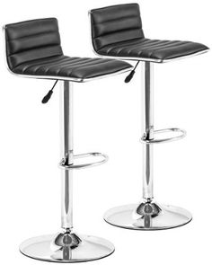 Set of Two Adjustable Zuo Equation Black Barstools