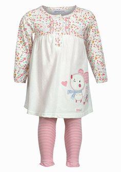 dc0bf2dac Babaluno Baby Girls Floral Dress & Stripe Leggings Set Ages 0-3 3-