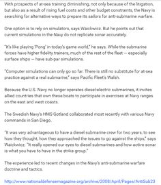 Submarine warfare 3: http://www.nationaldefensemagazine.org/archive/2008/April/Pages/AntiSub2301.aspx