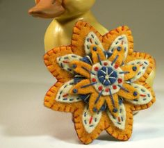 Gold Yellow and Blue Felt Flower Brooch Pin Hand Embroidered $20