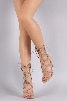 Breckelle Strappy Corset Lace Up Stiletto Heel