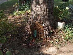 fairy garden door @Kari Bartholomew Kantack  How cute is that? I think you need this to complete your fairy garden!!!!  I have a big tree that could use a door too:)